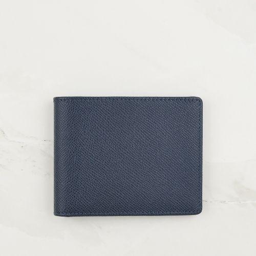 Navy Blue Cross Grain Leather