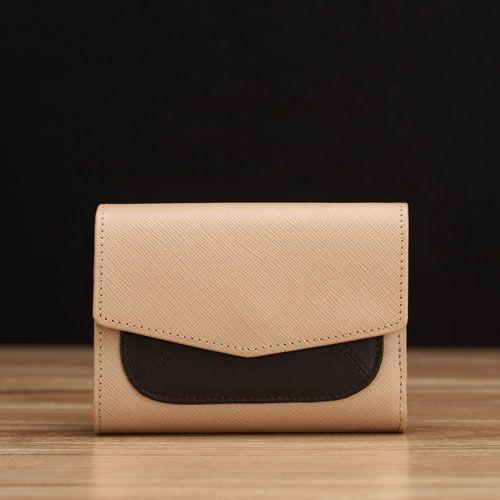 Beige Saffiano Leather