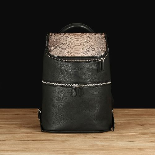 Black Italian Leather With Python