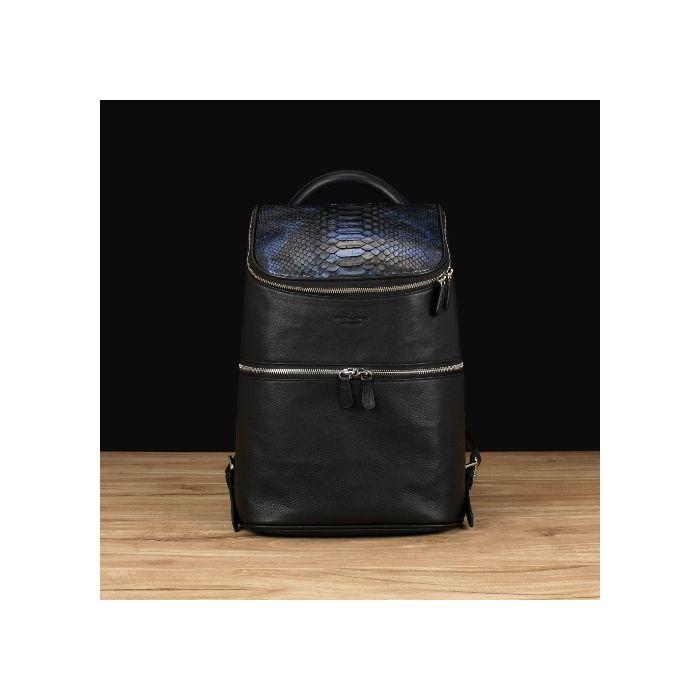 Black Italian Leather w/ Blue Python
