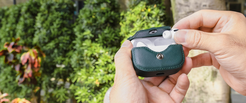 Airpods Pro leather cases available in dark green smooth grain leather
