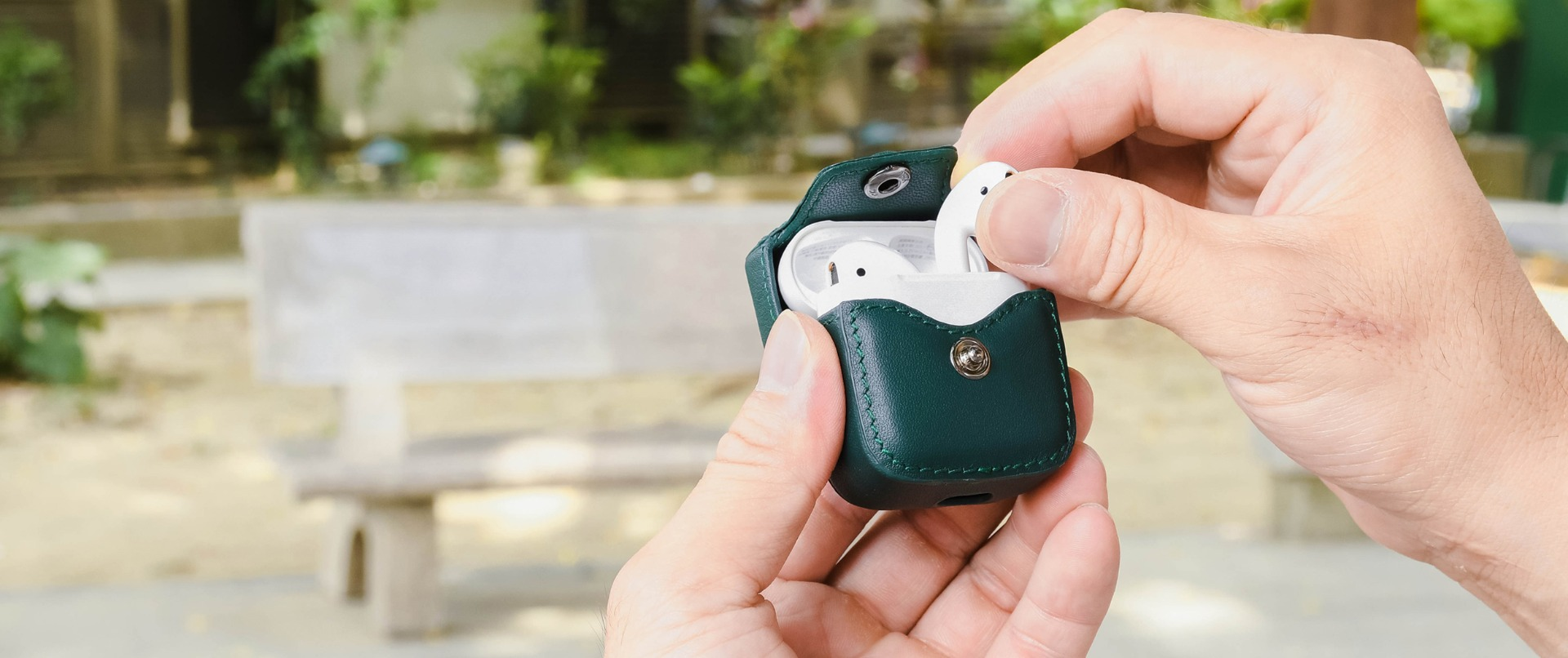 Airpods leather cases available in olive green smooth fine grain leather