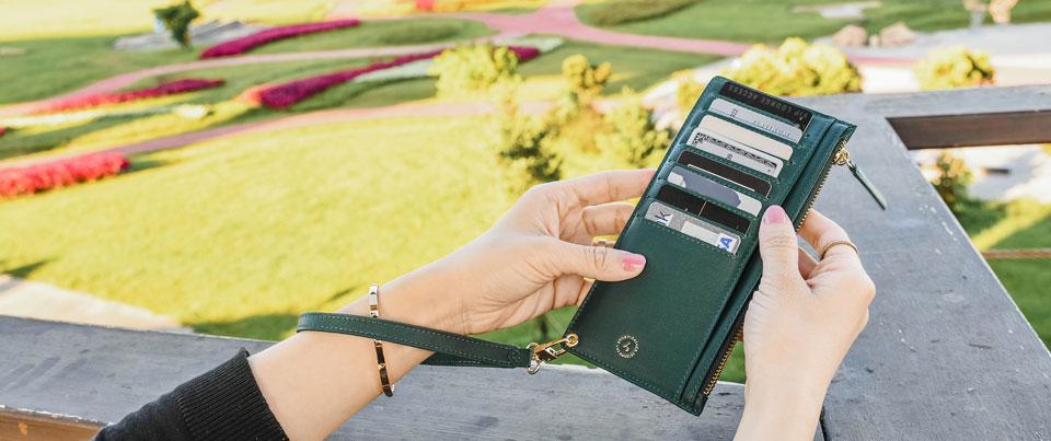 Dark Olive Green Calfskin Smooth Fine Grain Genuine Leather Wristlet Long Wallet