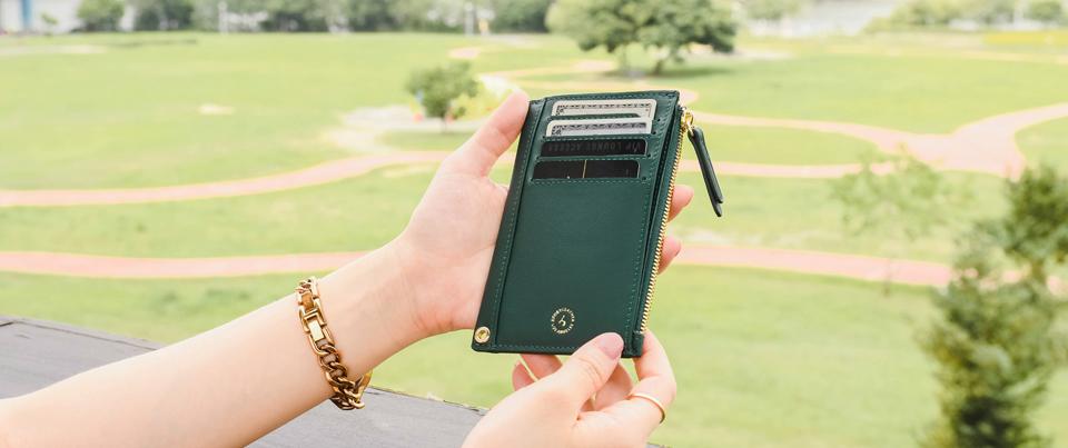 Dark Green  Calfskin Smooth Fine Grain Genuine Leather Slim Card Wallet