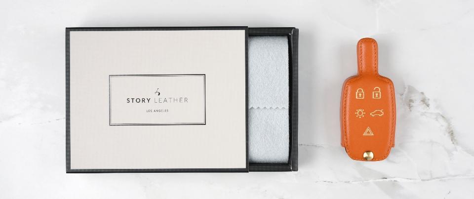 Custom Made Leather Key Cover for Your Volvo C30 / V30 Keyless Car Key Fob