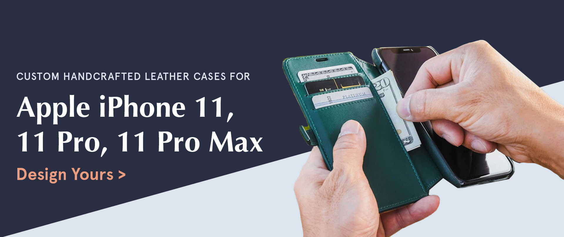 Custom handcrafted leather cases for Apple iPhone 11, 11 Pro, 11 Pro Max