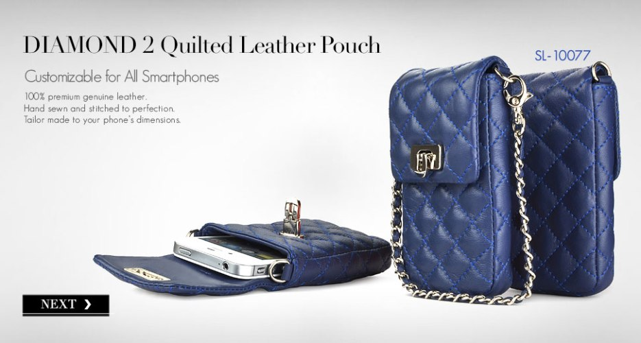 Diamond 2 Long Leather Pouch & Purse. Customizable for All Smart Phones.