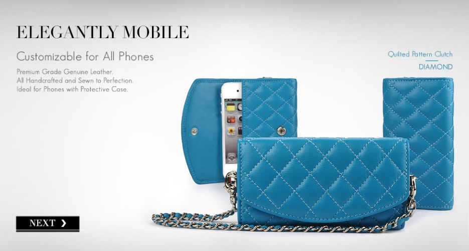 Diamond Leather Phone Purse & Pouch. Customizable for All Smart Phones