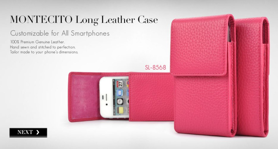 Montecito Long Leather Holster Case. Customizable for All Smart Phone Devices.