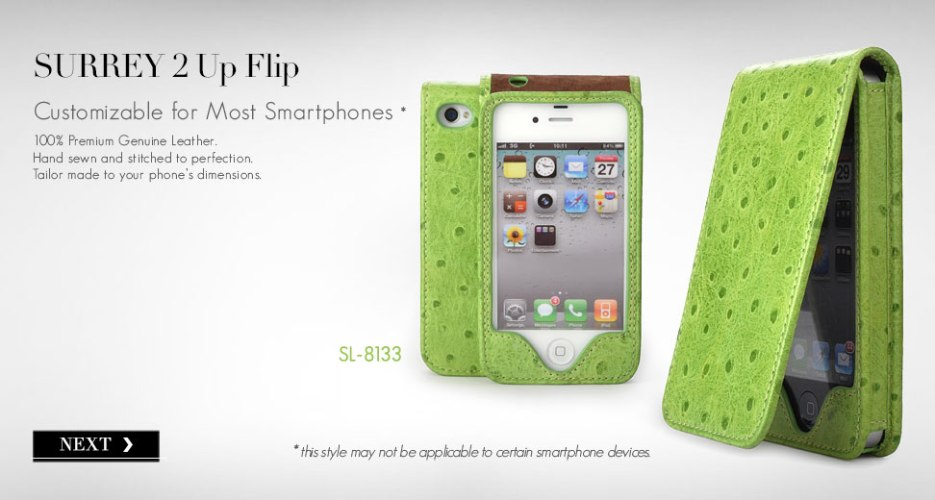 Surrey 2 Upward Flip Leather Case. Customizable for Most Popular Smart Phones