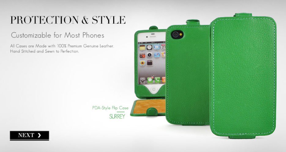 Surrey D1 Down Flip Leather Case. Customizable for Most Popular Smart Phones