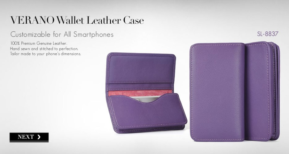 Verano Leather Phone Wallet. Customizable for all Smart Phones