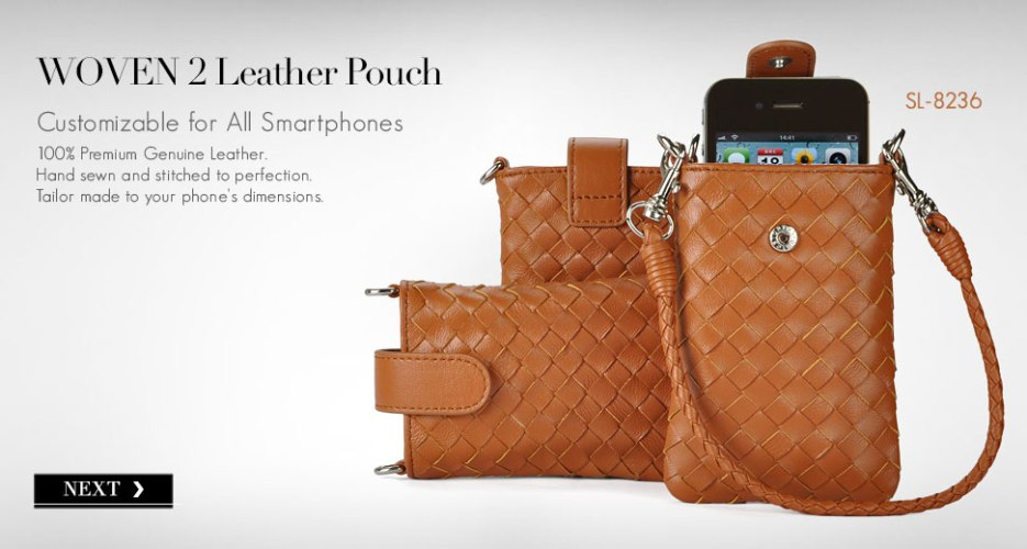 Woven 2 Long Leather Pouch & Purse. Customizable for All Smart Phones.